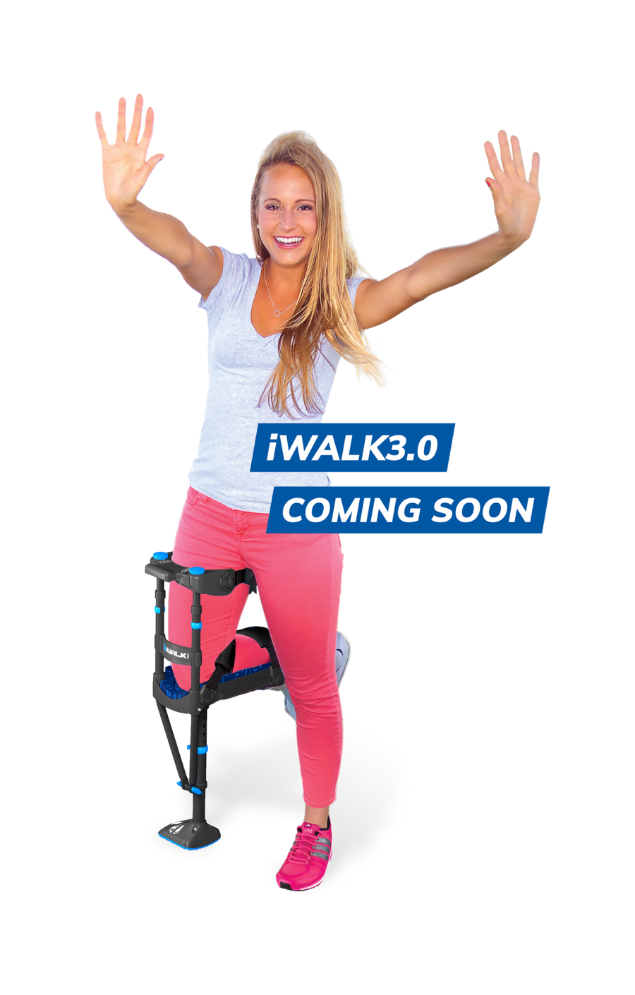 female using iwalk3 hands free crutch with 'coming soon' label