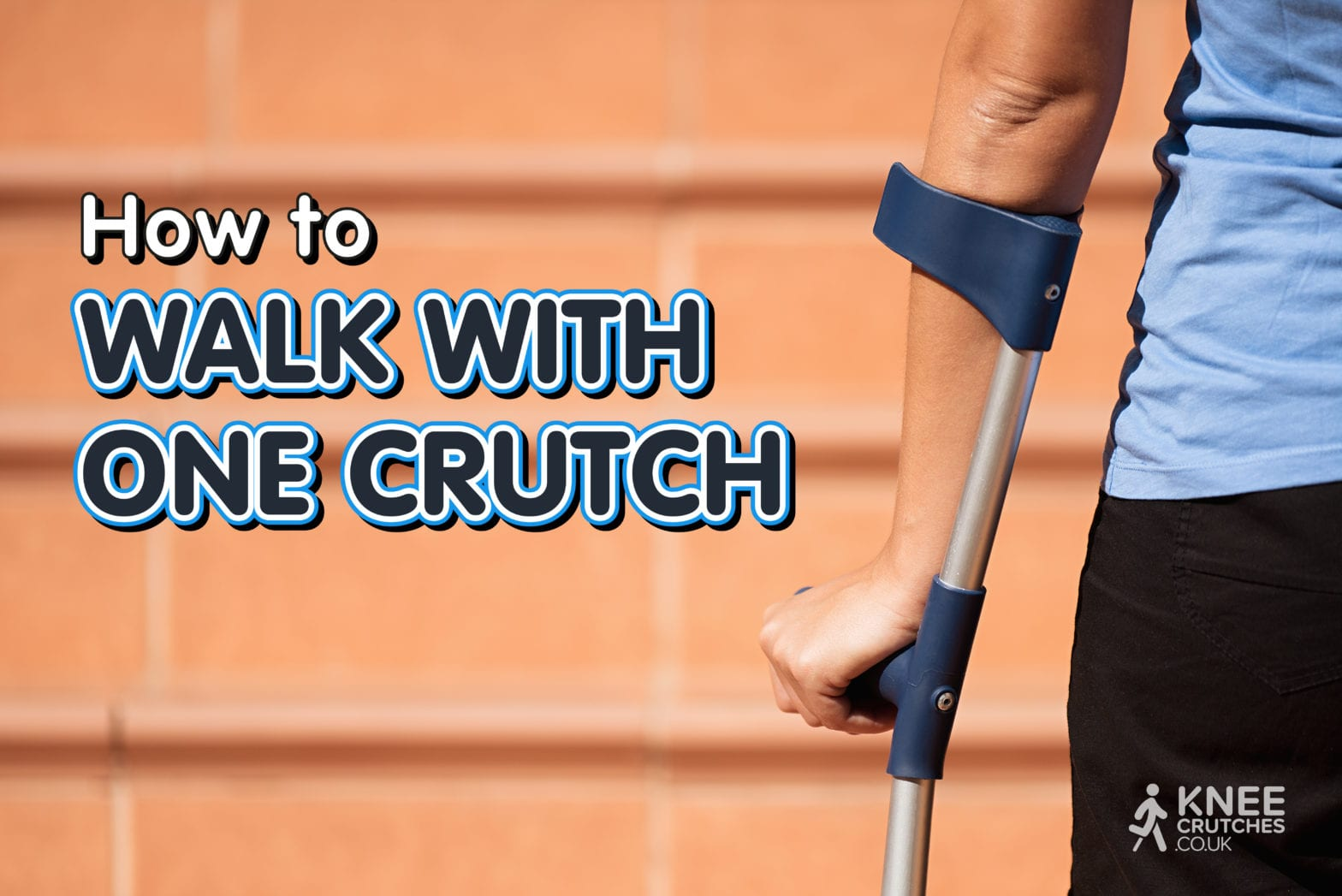 Injured Woman Trying To Walk Up Stairs On Crutches