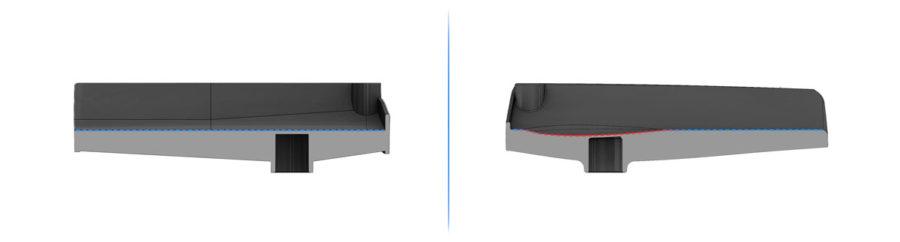 cross section of iWALK2.0 vs iWALK3.0 knee platform