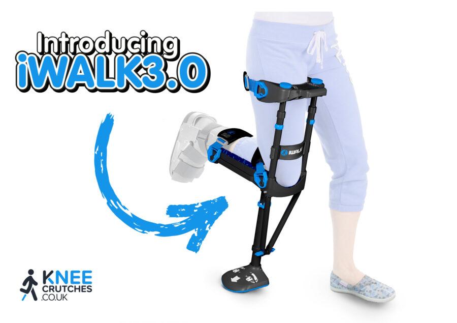 Female using new iWALK 3.0 hands-free knee crutch