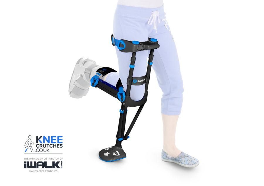 Woman wearing new iWALK 3.0 hands-free knee crutch