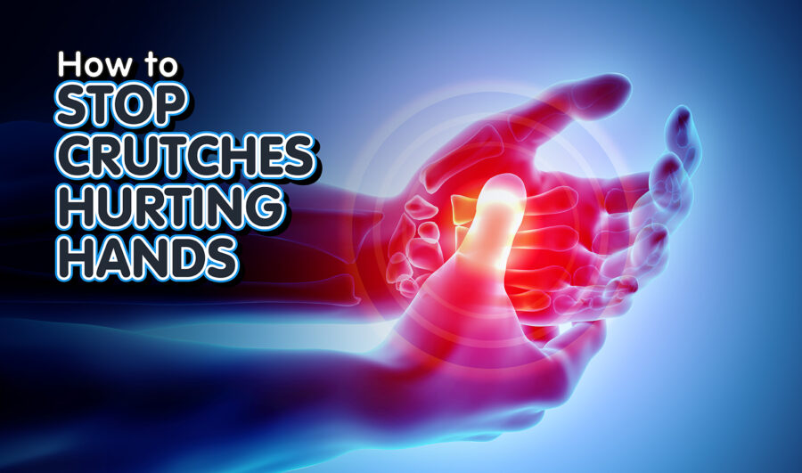 3D illustration of hand pain from using crutches